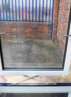 Close up of aluminium parallel window