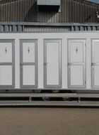 Mobile toilet facilites using the Capricorn lightweight aluminium door
